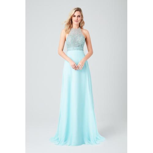 فستان أزرق طويل المطرز