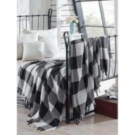 غطاء سرير مربعات زينة للسرير ابيض واسود قطن 100%