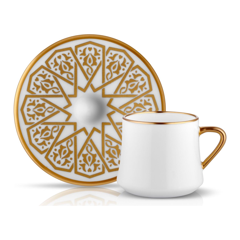 كولاكسيون صوفي مجموعة فناجين القهوة مزخرفة ذهبية عدد 6