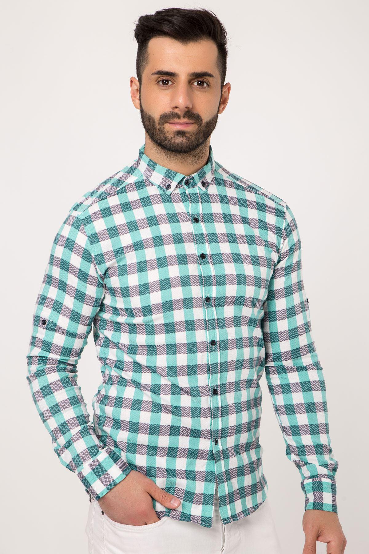 قميص كارييه باللون الاخضر للرجال